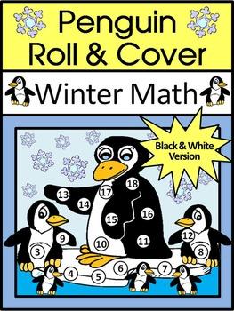 Penguin Activities: Penguin Roll & Cover Winter Math Activ