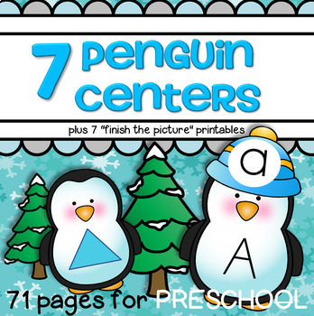 Penguins Literacy and Math Centers and Activities for Pres