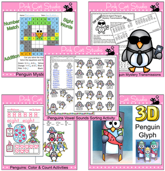 Penguins Value Pack - Glyph, Mystery Picture, Vowel Sounds, Counting