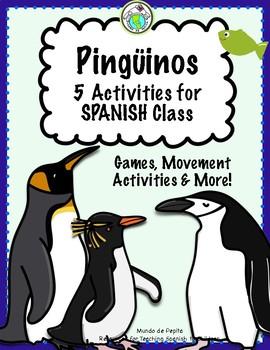Penguin Activity Pack in SPANISH Pingüinos 5 Activities