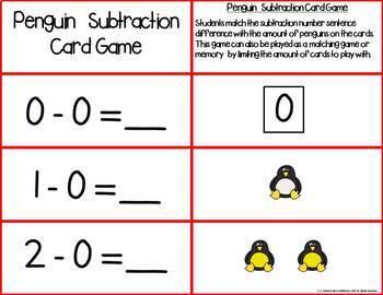 Penguin Add & Subtract 0-10 Number Sentence Match