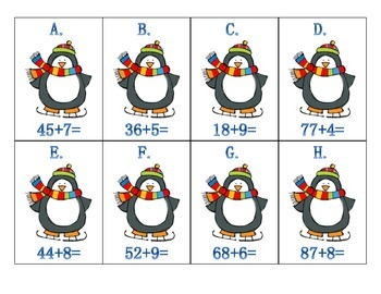 Penguin Adding 2-digit and 1-digit numbers