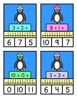 NUMBER LINE ADDITION TO TEN - Penguin Theme