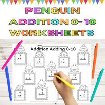 Penguin Addition Adding 0-10 Math Worksheets