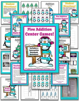 Penguins Quick and Easy to Prep Addition Centers and Printables