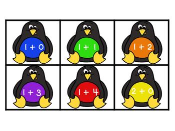 Penguin Addition Fact Fluency Sort to 5