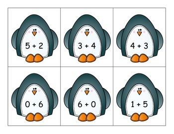 Penguin Addition Sums from 5 to 10