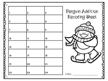 Penguin Addition Task Cards to 10 and 20