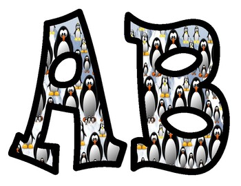 Penguin Alphabet Bulletin Board Letters