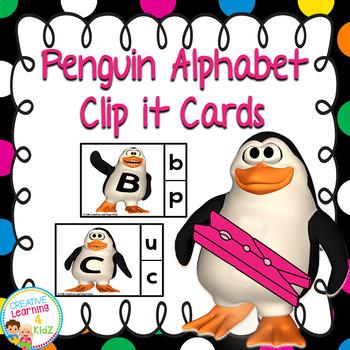 Alphabet Clip it Penguin Cards