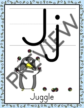 Alphabet Posters   Penguin Theme (Full Page Size)