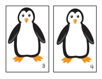 Penguin - Arctic Animals - Counting Mats - #1-10