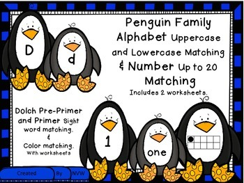 Penguin BUNDLE Dolch Sight Words, Numbers, Letters, and Colors