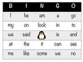 Penguin Bingo Kindergarten Sight Words