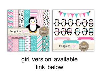 Penguin Boy digital paper and clipart