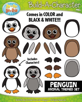 Penguin Build-A-Character Clipart Set — Includes 25+ Graphics!