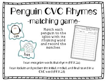 Penguin CVC Rhyming