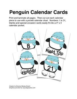 Winter Penguin Calendar Cards