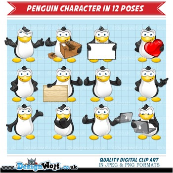 Penguin Character In 12 Different Poses