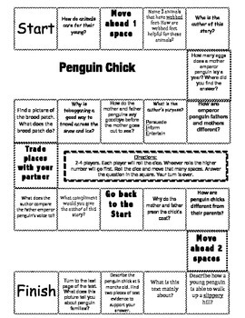 """Penguin Chick"" 2nd grade Journeys comprehension game board"