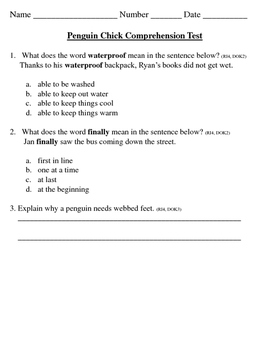 Penguin Chick Reading Comprehension Test 2nd Grade