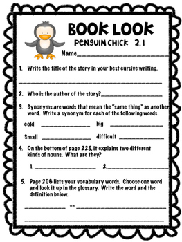 Penguin Chick Reading Street 3rdgrade Unit 2.1 reading worksheet practice review