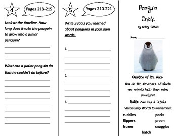 Penguin Chick Trifold - Reading Street 3rd Grade Unit 2 Week 1