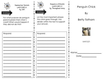 Trifold for Penguin Chick by Betty Tatham- Journeys Common Core