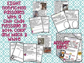 Penguin Chit Chat Messages & Close Reading Passages NO PREP