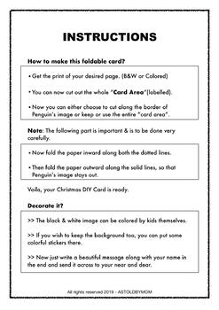 Penguin Christmas Foldable Card - B&W, Color Printable with Instructions