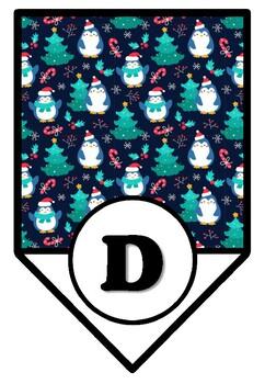 Penguin, Christmas, Winter, Bulletin Board Pennant Letters, Classroom Décor A-Z