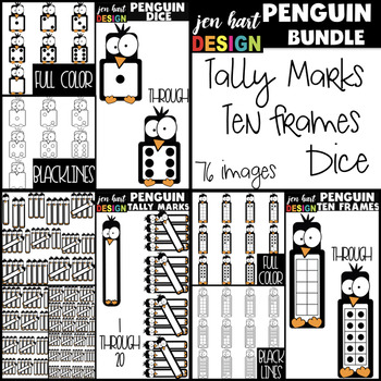 Penguin Clip Art BUNDLE - Tally Marks, Dice, & Ten Frames {jen hart Clip Art}