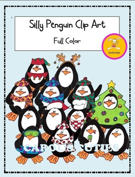 Christmas Clip Art -Silly Penguins Color