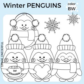 Penguin Clip Art, Winter Clipart, CU Okay
