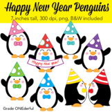 Penguin Clip Art, Happy New Year Clipart, CU Okay
