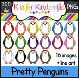 Penguin Clip Art:  Rainbow Penguins