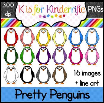 Penguin Clip Art:  Rainbow Penguins