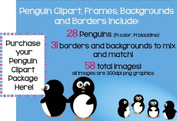 Penguin Clip art, Frames, Backgrounds and Borders