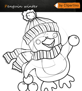 Winter games Penguins Clip Art