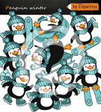 Winter games Penguins Clip Art