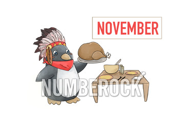 Penguin Clipart w/ Penguin Serving Turkey ★ All Months of the Year Clipart