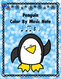 Penguin Color By Music Note Rhythm Coloring - Half Note