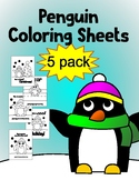 Penguin Coloring Sheet Pack holiday edition 5 pack!