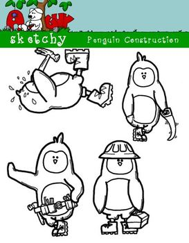 Penguin Construction Clipart / Graphics - 300dpi Color Grayscale Black Lined