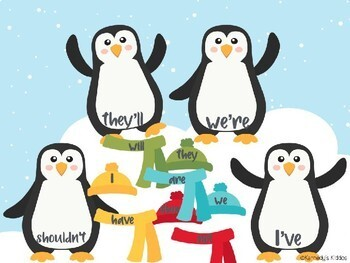 Penguin Contractions (Great for Google Classroom!)