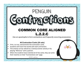 Penguin Contractions (Memory/Literacy Center) - Common Core Aligned L.2.2.C