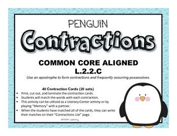 Penguin Contractions (Memory/Literacy Center) - Common Cor
