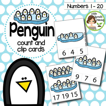 Penguin Count and Clip cards (Numbers 1-20) plus worksheets