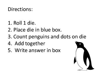 Penguin Counting Addition Dice Game