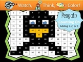 Penguin Counting On Addition Practice - Watch, Think, Color Game!